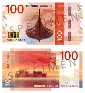 The updated 100 Kroner banknote was issued in 2017. Photo: Norges Bank.