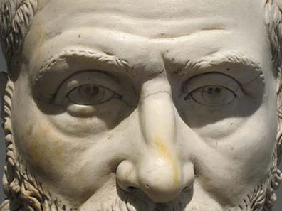Detail of a herm with the portrait of Herennianos. Photograph: KW.