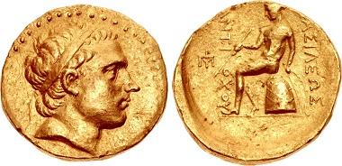 """Antiochos III. """"der Große"""". AV-Oktadrachme, unbekannte Münzstätte in Mesopotamien, um 197-192/0. Aus Auktion Triton XIX (2016), 286."""