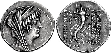 Cleopatra Thea. Tetradrachm, 125. Ptolemais mint, 125. From sale CNG 109 (2018), 328.
