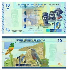 The updated 10 Bolivianos banknote also combines the history and impressive landscape of Bolivia.