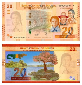 Impressing bright colours were used for the 20 Bolivianos banknote.
