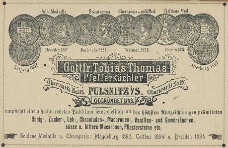 Werbeanzeige der Fa. G. T. Thomas von 1896. Foto: Privatarchiv numiscontrol.