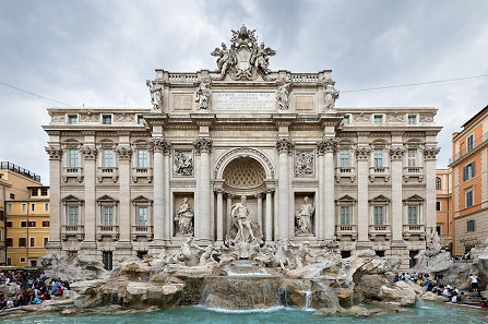 The Trevi Fountain in Rome is full of coins thrown in by tourists who want to make sure they will once return to the eternal city. Photo by DAVID ILIFF. License: CC-BY-SA 3.0