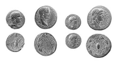 Agrippa's meeting at Tiberias in the Galilee was attended by six rulers of the ancient near east. We can see four of their portraits on the coins they struck (from left): Agrippa I himself, shown on a 21 mm bronze coin struck in Caesarea in 42/43 CE, Hendin-555; his brother, Herod of Chalcis, shown on a 26 mm bronze coin struck circa 43 CE in Chalcis, Hendin-561; Polemo, King of Pontus, shown on a 17.5 mm silver drachma struck in 56/57 CE in Pontus, Hendin-931; and Antiochus IV of Commagene, shown on a 27 mm bronze coin struck in Commagene during his reign (38-72 CE).