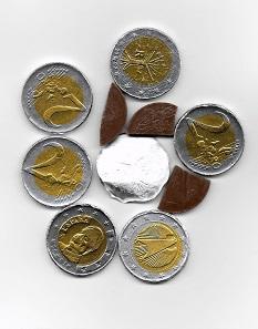 Schoko-Euros. Schätzung Nährwert. Foto: © Angela Graff.