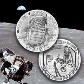 The winning designs (obverse and reverse) of the 2019 Apollo 11 50th Anniversary Commemorative Coin. Photo: United States Mint.