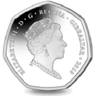 Gibraltar / 50 pence / proof sterling silver colored / 8 g / 27.3 mm / Mintage: 4,500.