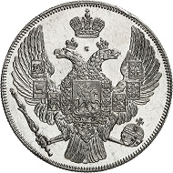 Russia. Nicholas I, 1825-1855. 12 rubles platinum 1839, St. Petersburg. Featuring collector's mark by Hutten-Czapski. NGC Grading (photo-certificate) PF 64 Cameo. Including expertise by Schiryakov & Co., Moscow. Proof, slightly touched. Estimate: 250,000 euros.
