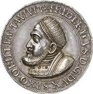 1549: SAXONY. Frederick III the Wise (1486-1525). Partly gilded silver medal 1532. Katz 55 a. Coll. Merseb. 421. Of great rarity, examined original, patina, partly gilded, EF. Price realized: 18,000 Euros.
