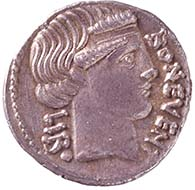 Denarius of L. Scribonius Libo. From Wyprächtiger Collection. MoneyMuseum, Zurich. ROMAN REPUBLIC. Lucius Scribonius Libo. Denarius, 62. BON. EVENT – LIBO Head of Bonus Eventus with broad fillet r. Rev. PVTEAL / SCRIBON Puteal Scribonis, decorated with kitharas and garlands; hammer below. Cr. 416/1. Syd. 928.