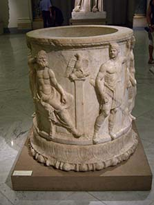 Thunderbolt grave from the 1st cent. A. D. with depiction of the 12 gods. Naples National Archaeological Museum. Photograph: UK.