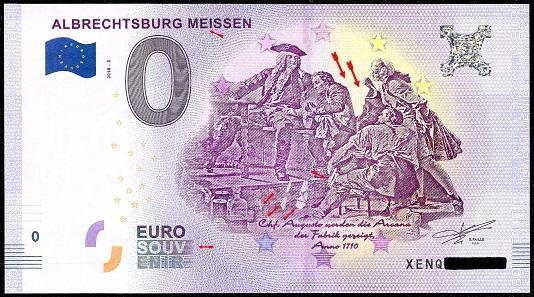 Albrechtsburg Meißen mit Fehlern markiert, darunter die Korrektur. Foto: numiscontrol.