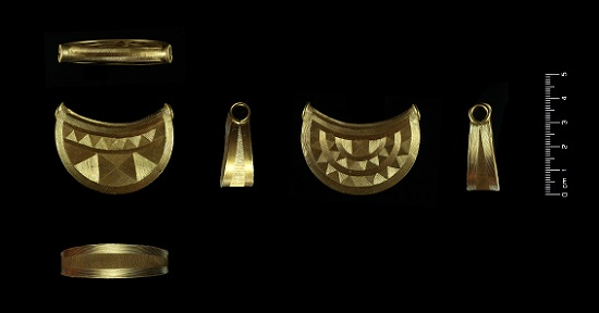 Late Bronze Age gold bulla from the Shropshire Marches. Photo: The Trustees of the British Museum.