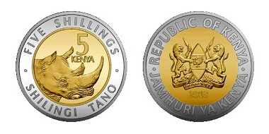 The 5-shilling coin features the image of a rhino. It is bi-metallic, with a golden centre and a silver-coloured outer ring. Photo: Central Bank of Kenya.