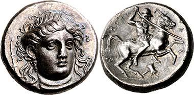 Pherai (Thessaly). Alexander, tyrant 369-358. Head of Ennodia en face. Rev. Alexander riding r. From BCD Coll., auction Nomos AG 4 (2011), 1309