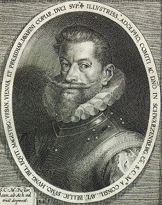 Adolf von Schwarzenberg (*1551, +1600), Kupferstich nach Dominicus Custos.