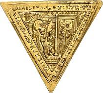 Dreieckige, goldene Klippe im Gewicht zu anderthalb Dukaten 1598 auf die Rückeroberung der Festung Raab. Aus Auktion Künker 316 (31. Januar 2019), Nr. 527. Taxe: 10.000,- Euro.