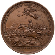 William Washington / Battle of the Cowpens. Early restrike from original dies. AE bronze medal. 1781. 45 mm.