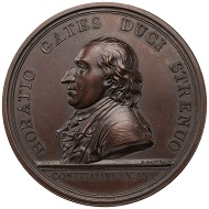 Horatio Gates / Battle of Saratoga. Restrike from original dies. Bronze medal.1777. 55 mm.