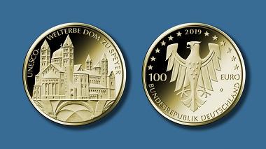 """100-Euro-Goldmünze """"UNESCO-Welterbe – Dom zu Speyer. Quelle: BVA. Foto: Hans-Joachim Wuthenow."""
