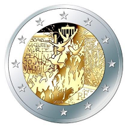 The 2-euro commemorative circulation coin features a design by Joaquin Jimenez.