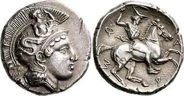 Pharsalos (Thessalien). Drachme, signiert von Telephantos, spätes 5. bis Mitte des 4. Jh. Kopf der Athena n. r. Rv. Thessalischer Reiter, das Lagobolon schleudernd. Aus Slg. BCD, Auktion Nomos AG 4 (2011), 1288.