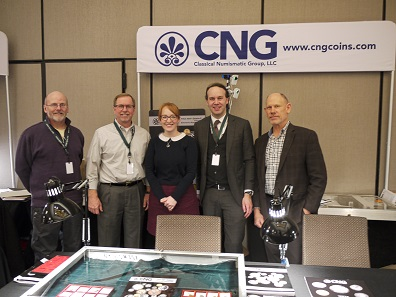 The CNG booth was busy all the time, so it wasn't easy to get the whole team together for a picture. From left to right: Kerry Wetterstrom, Michael Gasvoda, Caroline Holmes, Paul Hill and David Michaels. Photo: Björn Schöpe.