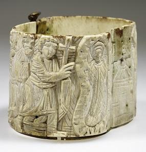 Dose (Pyxis) mit biblischen Szenen, Elfenbein. 6. – 7. Jahrhundert n. Chr. LVR-LandesMuseum Bonn. Foto: J. Vogel, LVR-Landes-Museum Bonn.