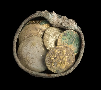 Details of new hoard. Photo: Clara Amit, Israel Antiquities Authority.