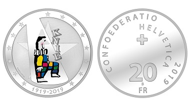 Switzerland. 20 francs 2019. Centenary of the Circus Knie. By Remo Mascherini. Silver 835 / 20 g / 33 mm / Mintage exclusively in proof quality: 5,000 / Date of issue: January 24, 2019.