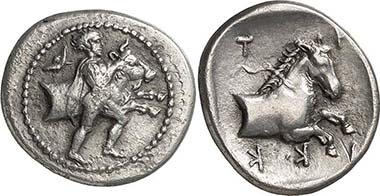 Trikka (Thessaly). Hemidrachm, c. 480-400. Man taming a bull r. Rev. horse protome. From auction Gorny & Mosch 165 (2008), 1243.