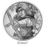 """Entwurf der Münze """"Robin Hood"""" © Münze Österreich AG."""