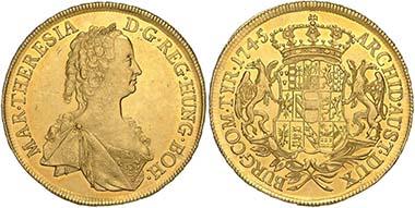 Katalognr. 690: Österreich. Maria Theresia. 10 Dukaten 1745, Wien, mit Laubrand. Ausruf Euro 17.500. Zuschlag: Euro 103.200. Foto: Dorotheum Wien.