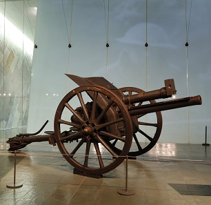 This 18-pounder Canadian artillery piece was used by the 39th Battery, Canadian Field Artillery during the Hundred Days campaign. In August 1919, Canadian soldiers presented it to the citizens of Mons, Belgium as a symbol of friendship, claiming that it was the last Canadian gun to fire before the Armistice. Photo: City of Mons Collections.
