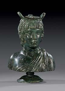 No. 1: Antinoos-balsamarium. Bronze hollow casting, Roman, 2rd cent. A. D. H 21 cm. Estimate: 35,000 Euros. Price realized: 97,750 Euros.