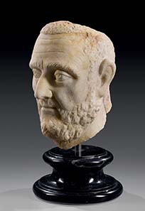 No. 12: Traianus Decius (?). Marble, middle of 3rd cent. A. D. H 26 cm. Estimate: 50,000 Euros. Price realized: 63,250 Euros.