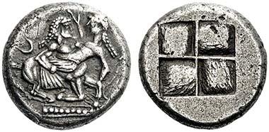 Nr. 17: SAMMLUNG DIEZ. Orrescii. Stater, ca. 500-480 v. Chr. Kentaur raubt Nymphe. Rs. Quadratum incusum. SNG ANS 980 var. Ex Jacob Hirsch, Auktion XIV (27. 11. 1905), Nr. 297. Sehr selten. Zuschlag: 32.000 Euro.