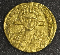 Justinian II (second reign), solidus, 705, gold, Constantinople. Photo: The Hunterian.