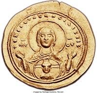 Dieser Gold-Histamenon aus dem Jahr 1042 wurde von Heritage Auctions versteigert. Foto: Heritage Auctions, HA.com.