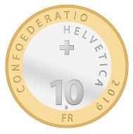 Schweiz / 10 CHF / 15 g / 33 mm / Design: Naomi Giewald / Auflage: 28.000 (unzirkuliert), 8.000 (Polierte Platte).