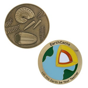 The first Sunday of the annual Earth Science Week is celebrated as Earthcache Day by geocachers all over the world. A corresponding official geocoin is issued every year. Photo: Geocoinshop.de.