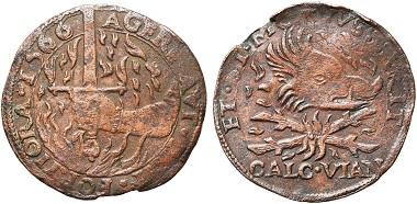 Das Vorbild. Niederlande. Rechenpfennig 1566. Aus Auktion Jean Elsen 139 (2018), Nr. 1323.