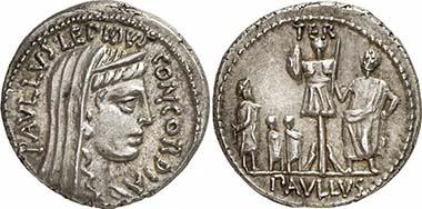 L. Aemilius Paullus. Denar, 62. Concordia. Rv. Aemilius Paullus mit Trophäe, davor der gefangene Perseus mit seinen Söhnen. Gorny & Mosch 191 (2010), 1981.