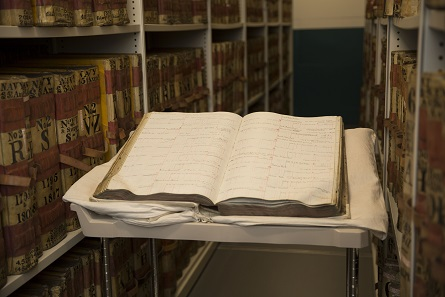 A photograph showing an example of one of the war loan ledgers in the Archive. Photo: The Bank of England Archive.