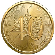 The 40th anniversary edition of the Gold Maple Leaf is limited to a world-wide mintage of 15,000 pieces.