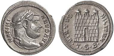 Maximianus Herculius. Argenteus, Thessaloniki, 302. Rv. Lagertor. Aus Auktion Lanz 135 (2007), 932.