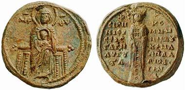 Yolande de Montferrat. Bulle, 1285-1317. 1285 heiratete Yolande den byzantinischen Kaiser Andronikos II., doch seit 1303 hielt sie sich ausschließlich in Thessaloniki auf, wo sie eine eigenständige Politik betrieb. Aus Auktion Lanz 144 (2008), 815.