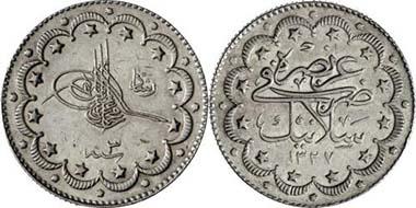 Osmanen. Mohammad V., 1909-1918. 10 Kurusch 1909, Mzst. Thessaloniki. Auf seinen Besuch in der Stadt. Aus Auktion Gorny & Mosch 143 (2005), 5536.