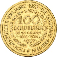 Josef Wild. 100 gold marks 1927. Presumably the third known specimen. Extremely fine. Price estimate: 5,000.- euros. From Künker auction 321 (15 March, 2019), No. 6820.